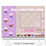 2019 Cupcake Calendar starting in February - Wall Calendar 11  x 8.5  (12-Months)