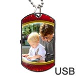 Gold Rim Dog Tag USB (2 Sided) - Dog Tag USB Flash (Two Sides)