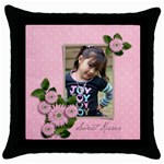 Throw Pillow Case (Black): Sweet Kisses