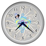 Squiggles clock 2 - Wall Clock (Silver)
