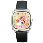 Girl of spring - Square Metal Watch