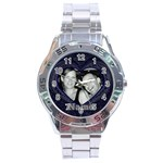 Mens Blue heart watch - Stainless Steel Analogue Watch