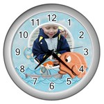 Gone Fishing Silver Wall Clock2 - Wall Clock (Silver)