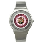 Pink Roman numerals bow watch - Stainless Steel Watch