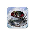 Friends in a teacup coaster - Rubber Coaster (Square)