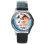 happy life - Round Metal Watch