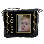 Love Black and Gold Messenger Bag