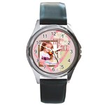 the girl - Round Metal Watch