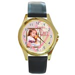 the girl - Round Gold Metal Watch