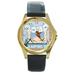 swim - Round Gold Metal Watch