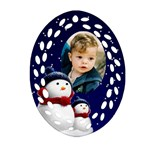 Snowmen Filigree Oval Ornament (2 sided) - Oval Filigree Ornament (Two Sides)
