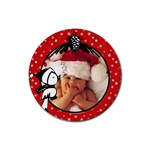 Red Christmas - Rubber coaster - Rubber Coaster (Round)