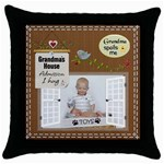 Grandmas House Throw Pillow Case - Throw Pillow Case (Black)