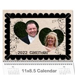 Twin Hearts Neutral Wedding Celebration Calendar 2019 - Wall Calendar 11  x 8.5  (12-Months)