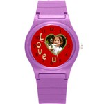 Love U Round Plastic Sport Watch Small - Round Plastic Sport Watch (S)