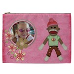 Sock Monkey Love XXL Cosmetic Bag 1 - Cosmetic Bag (XXL)