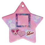 Breast cancer pink Love star ornament - Ornament (Star)