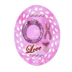Love Breast Cancer Awareness Oval Filagree - Ornament (Oval Filigree)