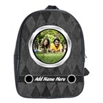 Charcoal/Silver Photo Personalized Backpack - School Bag (Large)