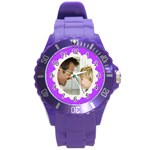 Purple/White Photo Frame Watch - Round Plastic Sport Watch (L)