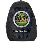 Black/Gray Silver Frame Photo Personalized Backpack Rucksack - Backpack Bag