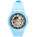 Silver/Gray Photo Frame Watch - Round Plastic Sport Watch (M)