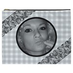 Gray Gingham Cosmetic Bag (XXXL) 2 sides