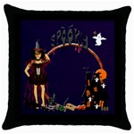 Spooky throw cushion witch - Throw Pillow Case (Black)