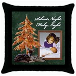 Silent Night Throw Pillow - Throw Pillow Case (Black)