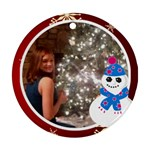 Snowman and white frame Round Ornament (2 sides) - Round Ornament (Two Sides)
