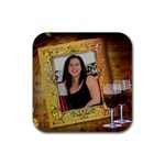 Red Wine on Square Coaster - Rubber Coaster (Square)