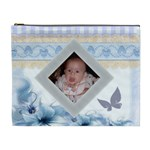 Blue Gingham and Heart Trim Cosmetic Bag (XL) 2 sides