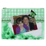 Green Gingham and floral cosmetic Bag (XXL)