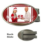 merry christmas, happy new year, season - Money Clip (Oval)