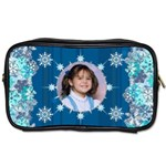 blue snowflake manicure bag (2 sides) - Toiletries Bag (Two Sides)