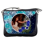 Blue snowflake and roses messenger bag