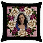 Roses and Lace Throw Pillow 2 - Throw Pillow Case (Black)