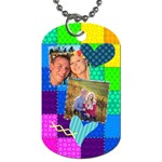 Stitched Quilted Rainbow - Dog Tag (One Side)