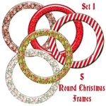 5 Round Christmas Frames - Set 1