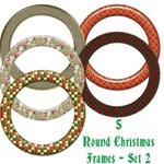 5 Round Christmas Frames - Set 2