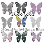 Claires crystal glass metal butterflies