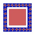 red, white and blue square frame