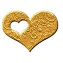 AC 3d I Heart You single frame bright gold emboss