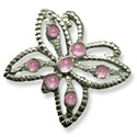 silver butterfly pink stones