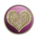 large gold heart button