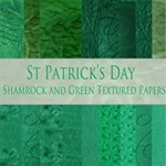 St Patricks Day Shamrock and green tetured papers