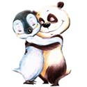 panda and penguin hugging