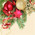 Christmas pines and ornaments background