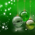 Green christmas balls on green background