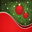 red and green background with red ornaments